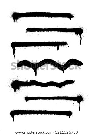 A set of thin lines with sprays made by the spray. Highly detailed template for background or design. Vector illustration EPS 10