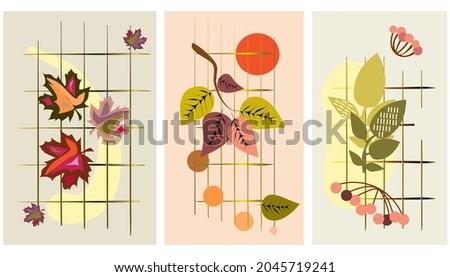 a set of three autumn patterns