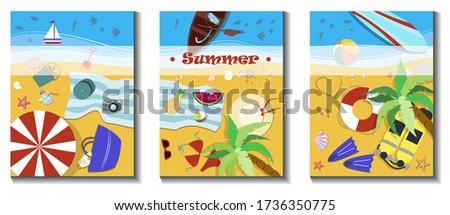 a set of three beach holiday
