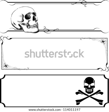A set of three black line art halloween banners. No white fill, place on any color background.