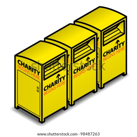 A set of three bright yellow charity clothing bins.