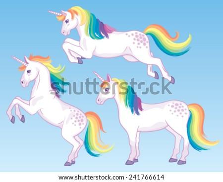 a set of three cartoon unicorns