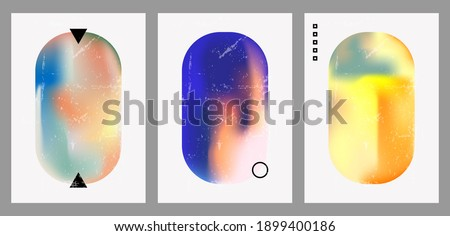 A set of three colorful aesthetic backgrounds. Minimalistic posters for social media, web design. Vintage geometric illustrations with different shapes, gradients, tints, fluids.