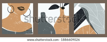 A set of three colorful square aesthetic backgrounds. Minimalistic posters for social networks, web design. Vintage abstract illustrations with geometric shapes, female face, ceramics, leaves. Foto stock ©