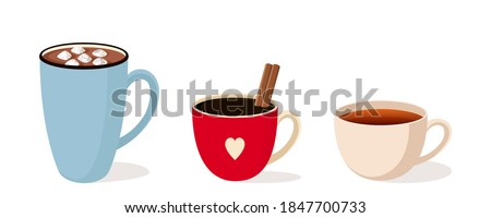 A set of three different mugs. A Cup of cocoa with marshmallow a Cup of black coffee with a cinnamon stick, a Cup of black or red tea. Vector stock flat illustration isolated on a white background.