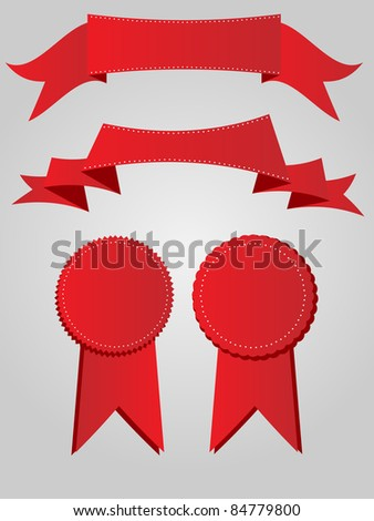 A set of three dimensional red ribbons and banners.
