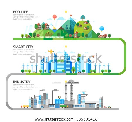 A set of three illustrations - production, modern city life in the countryside.