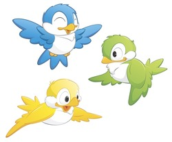 A set of three isolated cartoon birds in three colors.