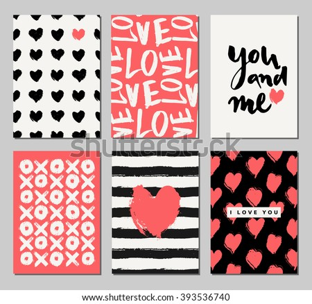 a set of three valentines day designs in black cream and coral red romantic