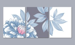 A set of three wall paintings, canvas for the living room. Poster element for interior design of a dining room, bedroom, office. Abstract floral background with dahlia flowers.Home decor of the walls