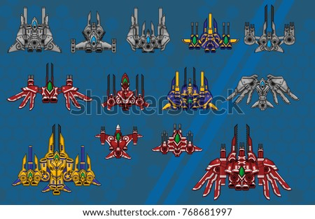 a set of top down space ship