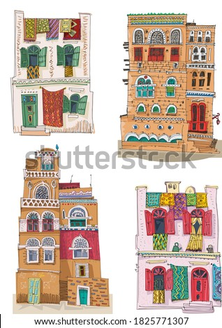 A set of traditional arabian, Yemen and Morocco architecture. Cartoon, caricature. Hand drawn traced to vector and colored sketch. Stock fotó ©