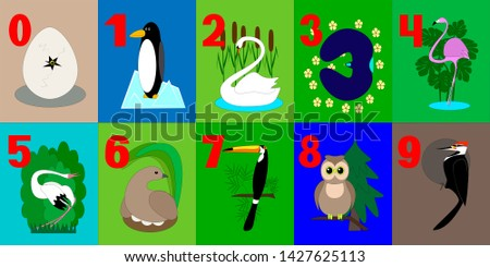 A set of training game cards with digits. Set of numbers for kids with birds. For applying the method of associations in the learning process.