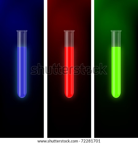 a set of transparent beakers with glowing liquids