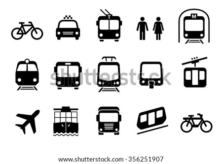 A set of transportation icons on a white background. Vector elements. Can be used in the design of interfaces for different devices.
