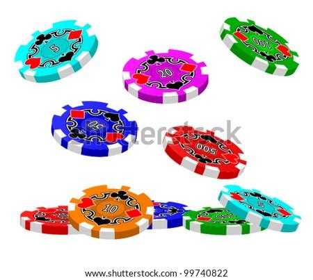 A set of tumbling Poker Chips.