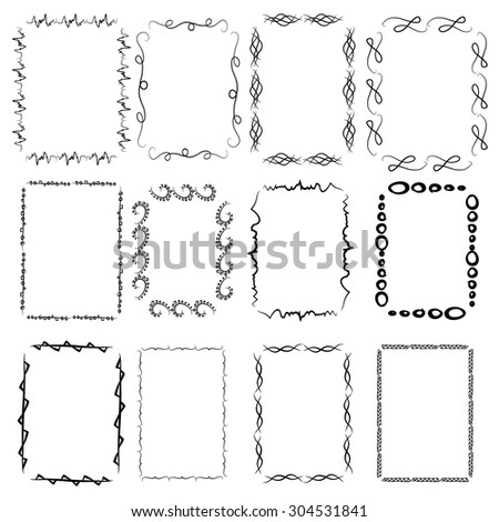 A set of twelve rectangular framework. Manual sketch. Isolated on a white background. Hand drawn design. Sprigs and swirls.