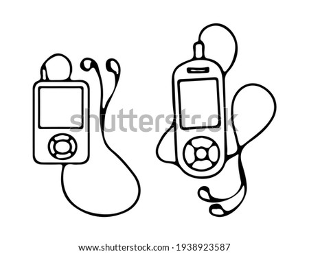 A set of two MP3 players with headphones for.  Vector illustration hand drawn by contour in doodle style. Stock photo ©
