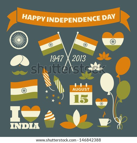 A set of typographic design elements and icons for the Indian Independence Day.