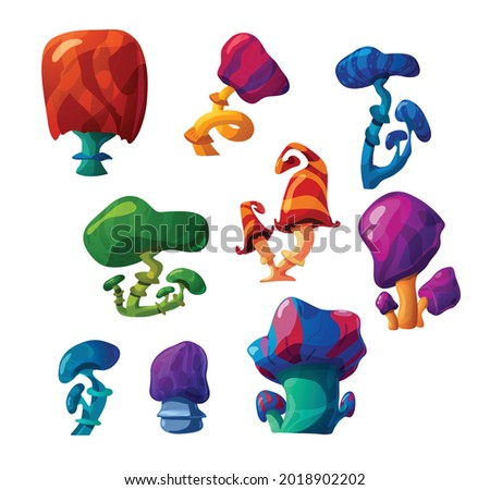 A set of unusual magic fantasy mushrooms, colorful plants of fabulous nature. Mystery fantastic psychedelic funguses. Flat cartoon vector illustrations isolated on white.