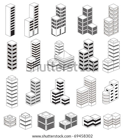 A set of urban  buildings in the isometric