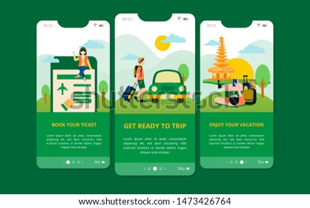 A set of user interface kit screens for travel guide such as booking ticket, Transport and enjoy your vacation. Modern display or UI screen for mobile and responsive web site.