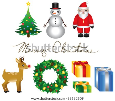 "A set of various Christmas elements and ""Merry Christmas"" written in cursive letters. Vector."
