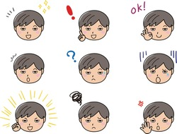 A set of various facial expressions and emotions of boys
