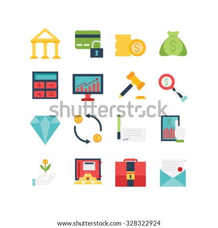 A set of various finance icons, eps 10, no transparencies