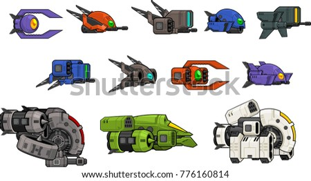 a set of various space ship for