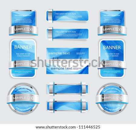 A set of various vector metallic buttons, banners and badges with soft blue backgrounds