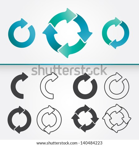 A set of vector arrows circle in colored and in black version /  Arrows Circle