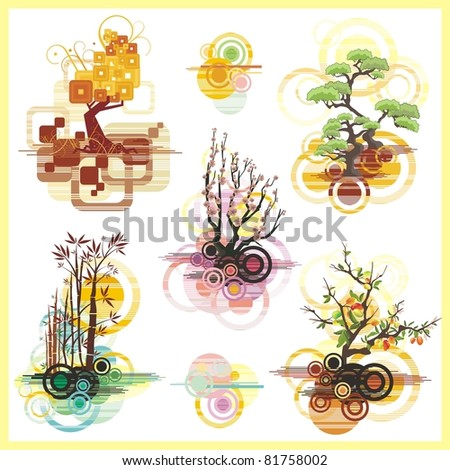 A set of vector backgrounds with trees and abstract design elements.