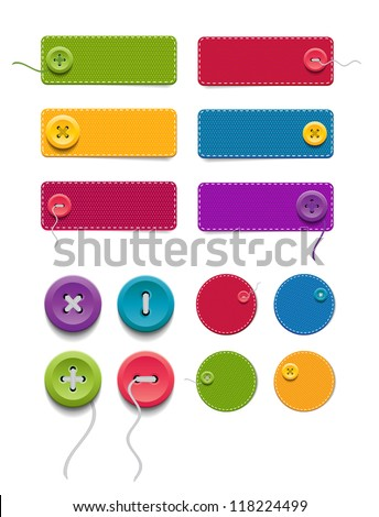 A set of vector blank fabric denim banners / badges / labels with buttons