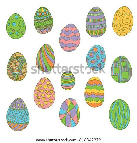 A set of vector bright eggs #616362272