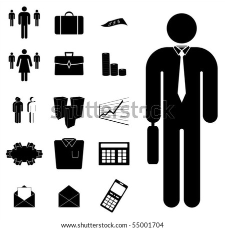 A set of vector business icons such as people, graphs, calculators and buildings.