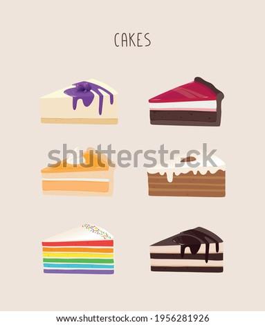 A set of vector cakes in a cute style for menus, postcards, printing. Honey cake, chocolate cake, tiramisu, cheesecake, citrus cake, rainbow birthday cake. Vector, eps 10