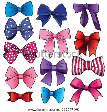 A set of vector cartoon bows and ribbons of different shapes and sizes