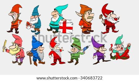 a set of vector christmas elfs