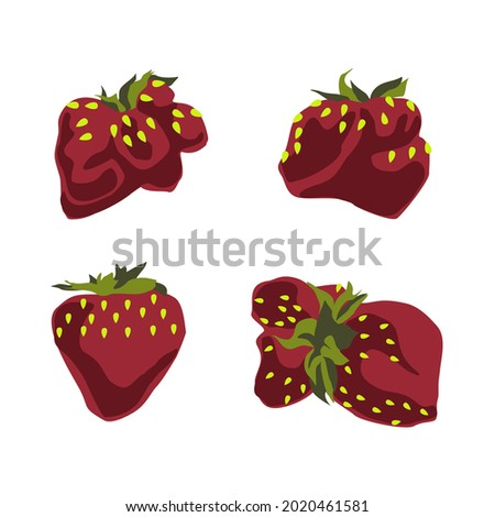 A set of vector drawings of ripe strawberries of an unusual shape. Juicy summer red berry.