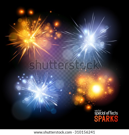 A set of vector electrical and fire sparks.