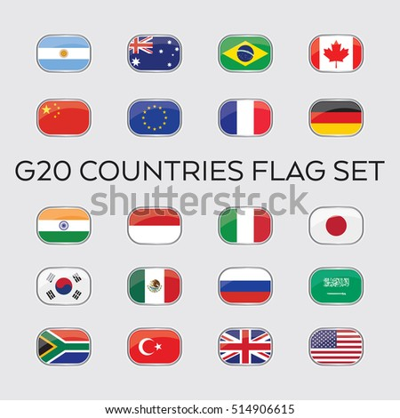 A set of vector flags for the entire group of G20 nations housed in rounded carriers. These countries make up the top economies in the world. #514906615