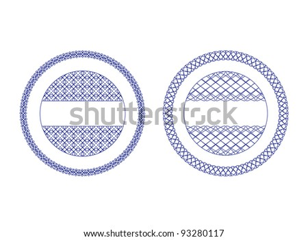 A set of vector guilloche seal, pattern for currency, certificate or diplomas, vector illustration