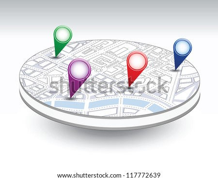 A set of vector icons isometric city map background