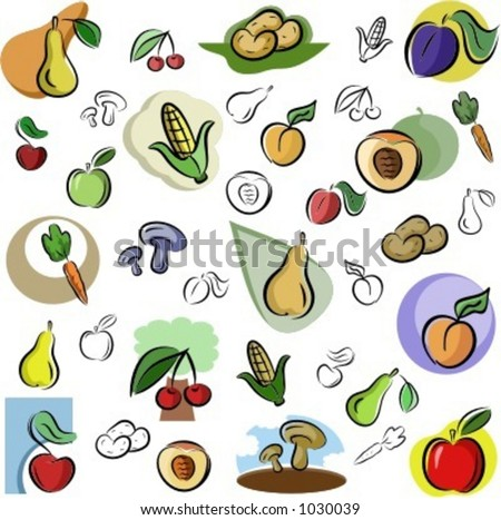 stock vector : A set of vector icons of fruits and vegetables in color, and