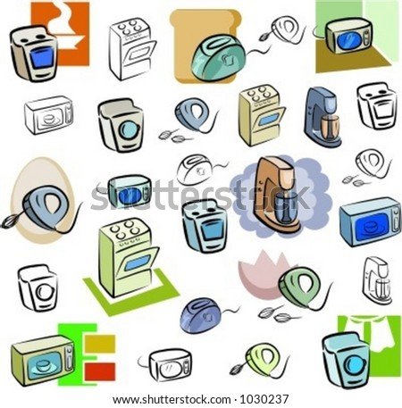 A set of vector icons of kitchen appliances in color, and black and white renderings.