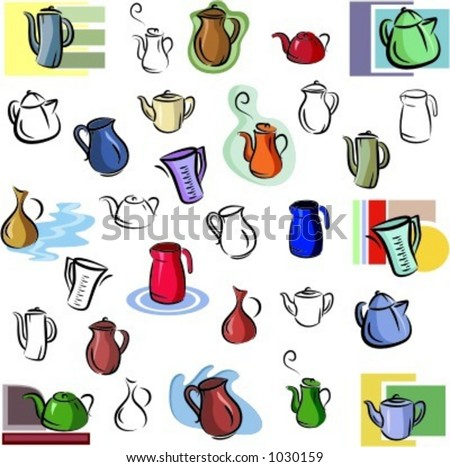 A set of vector icons of teapots, kettles and jugs in color, and black and white renderings.
