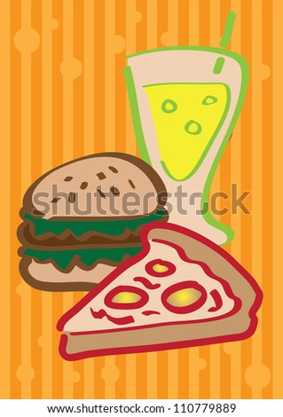 A set of vector illustrated fast food.