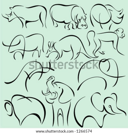 A set of 11 vector illustrations of animals in unique exquisite and ornamental style.