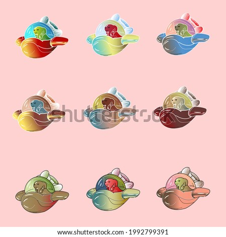 A set of vector illustrations of cute aliens on a spaceship with different colors, vector illustrations of aliens in ufo, aliens in space rockets, set of alien soldiers in ufo. ufo army, alien army.